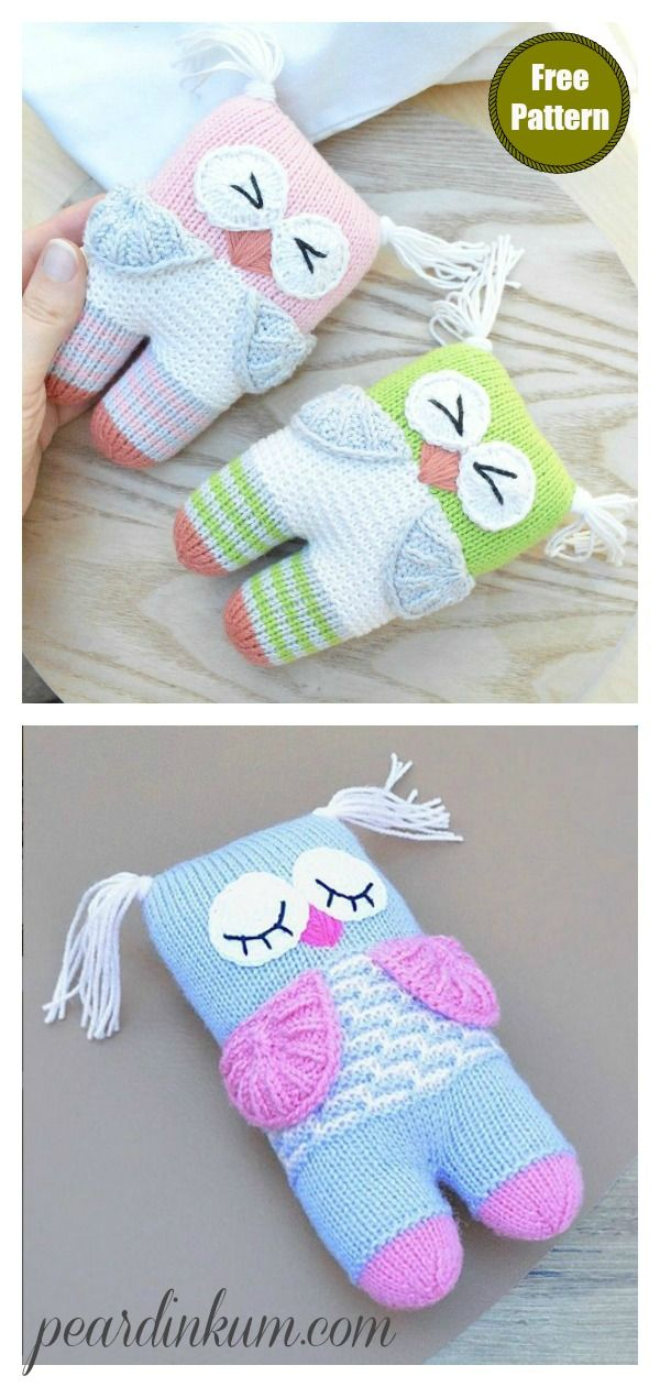 Cute Owl Free Knitting Pattern #knittedtoys