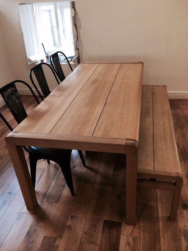 habitat radius large solid oak dining table bench set simon
