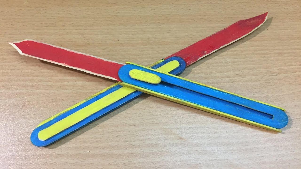 How to make a OTF Switchblade from Popsicle stick | The q