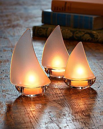 Tommy Bahama   Sailboat Tea Light Holders   Set Of 3
