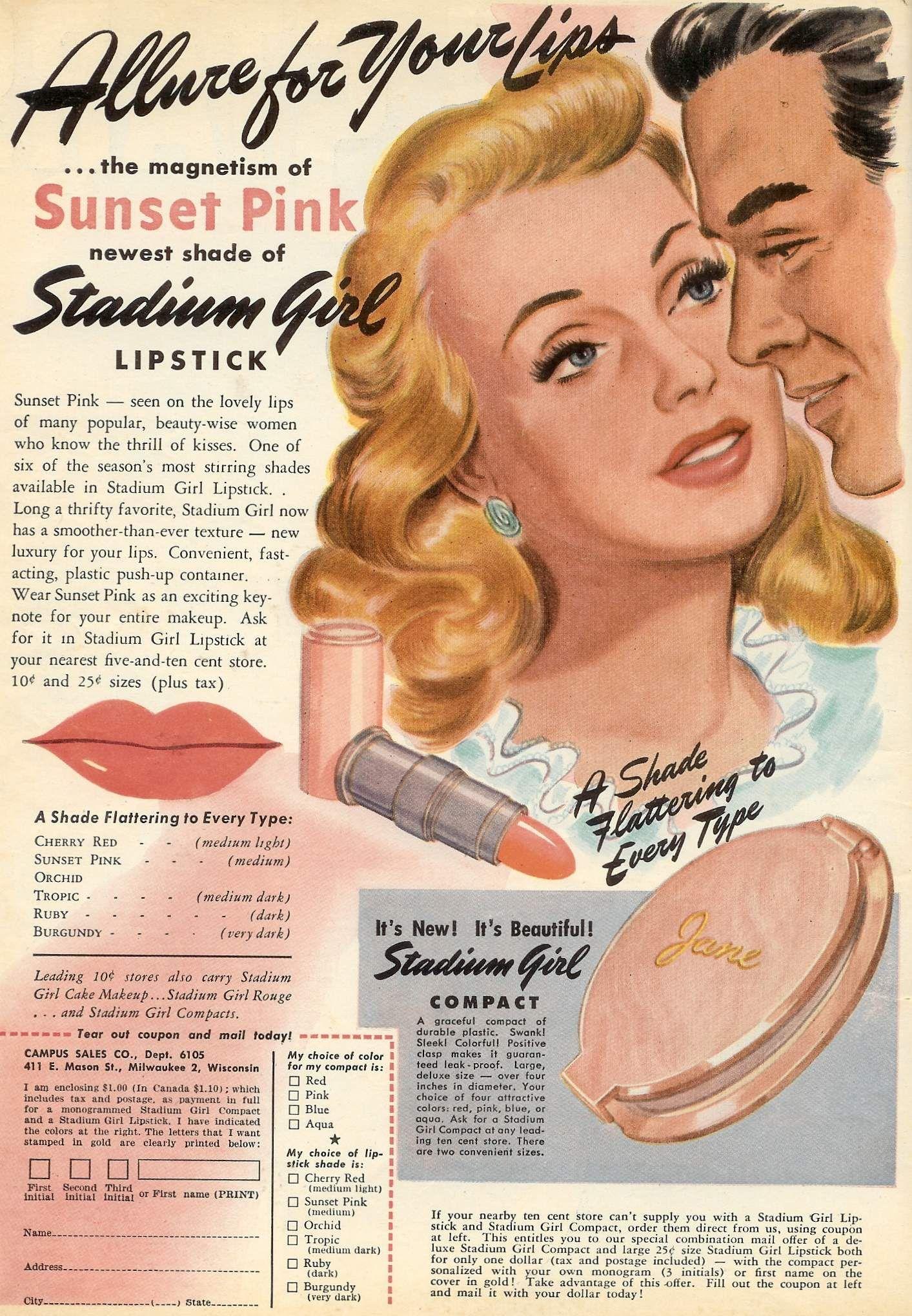 "Campus Sales ""Stadium Girl"" Powder Compact & Lipstick Ad"