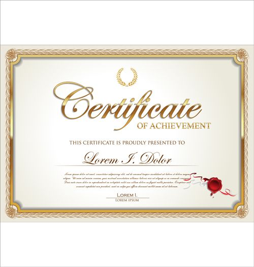 Exquisite certificate frames with template vector 02 Design - certificate of attendance template free download