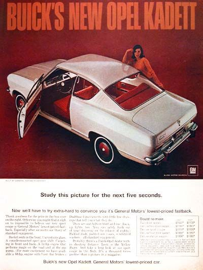1966 Buick Opel Kadett Sport Coupe Original Vintage Adver Imported From Germany By Msrp For This Model Started At 1 863