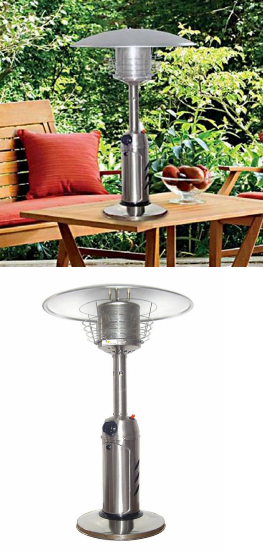 Patio Heaters 106402: Outdoor Table Top Portable Patio Heater Stainless  Steel 3 Ft Propane