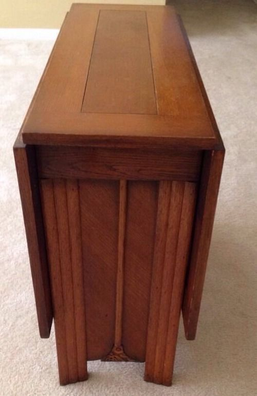 Antique Drop Leaf Oak Table Ours Has Small Drawers And Inside