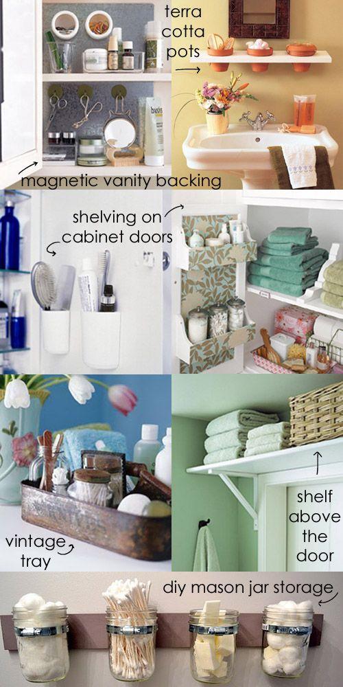 diy shelf ideas for bathroom%0A DIY Bathroom Space Savers Love the over the door shelf and mason jars idea