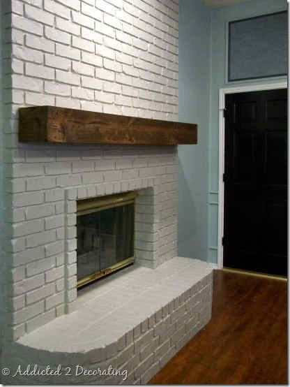 Floating Mantel On Painted Brick Looks Like A Chunk Of Wood But It S Really 1x8s And Veneer Great Project