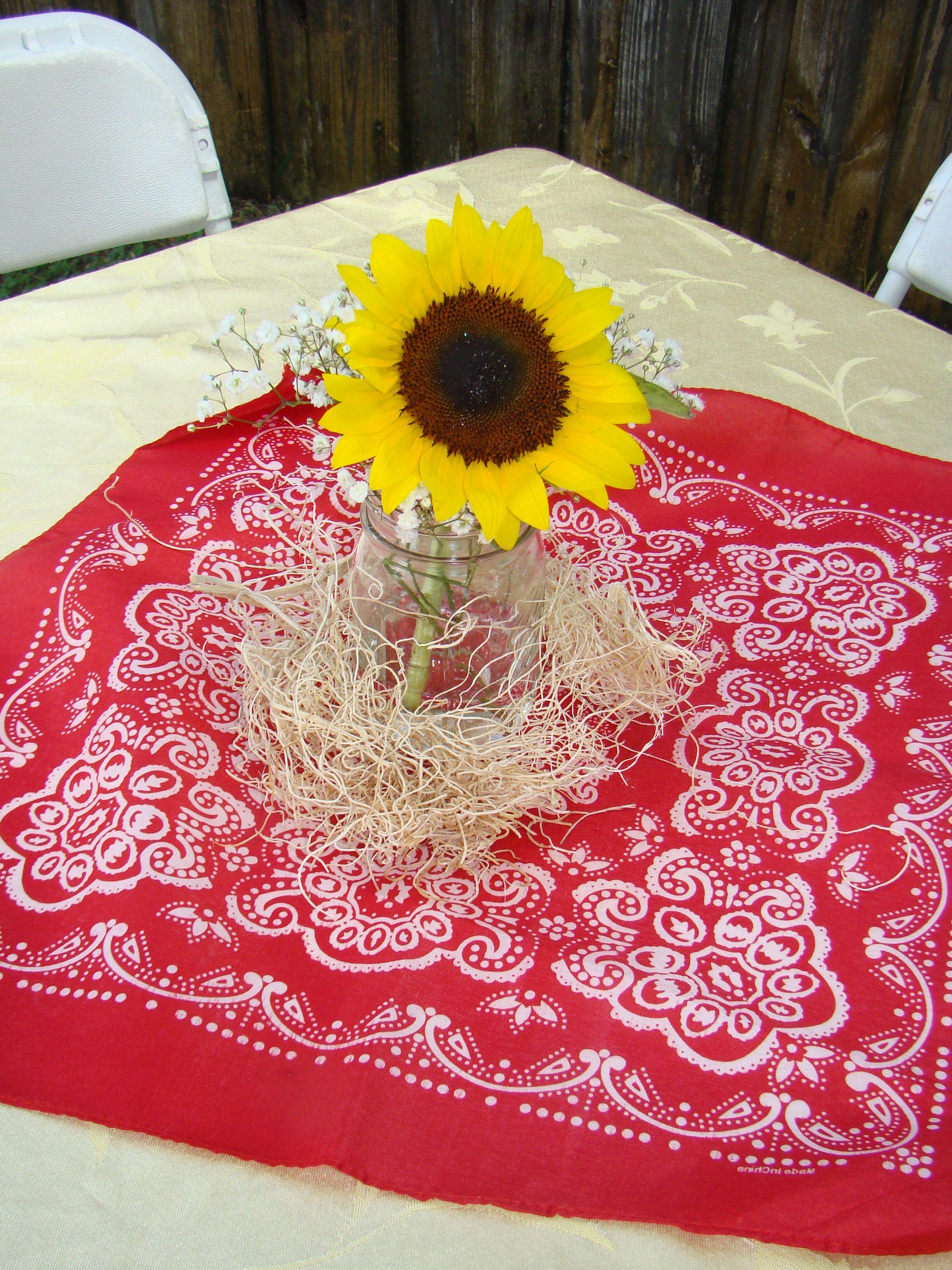 Pin By Chesta Hembrooke On Party Ideas Bandana Baby Shower Sunflower Baby Showers Baby Shower