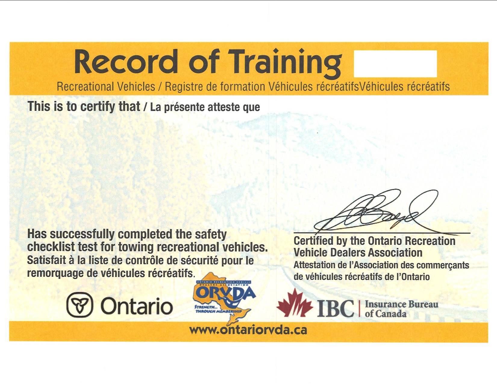 Mto Card Sample 12 Safety Checklist Bus Camper Ontario