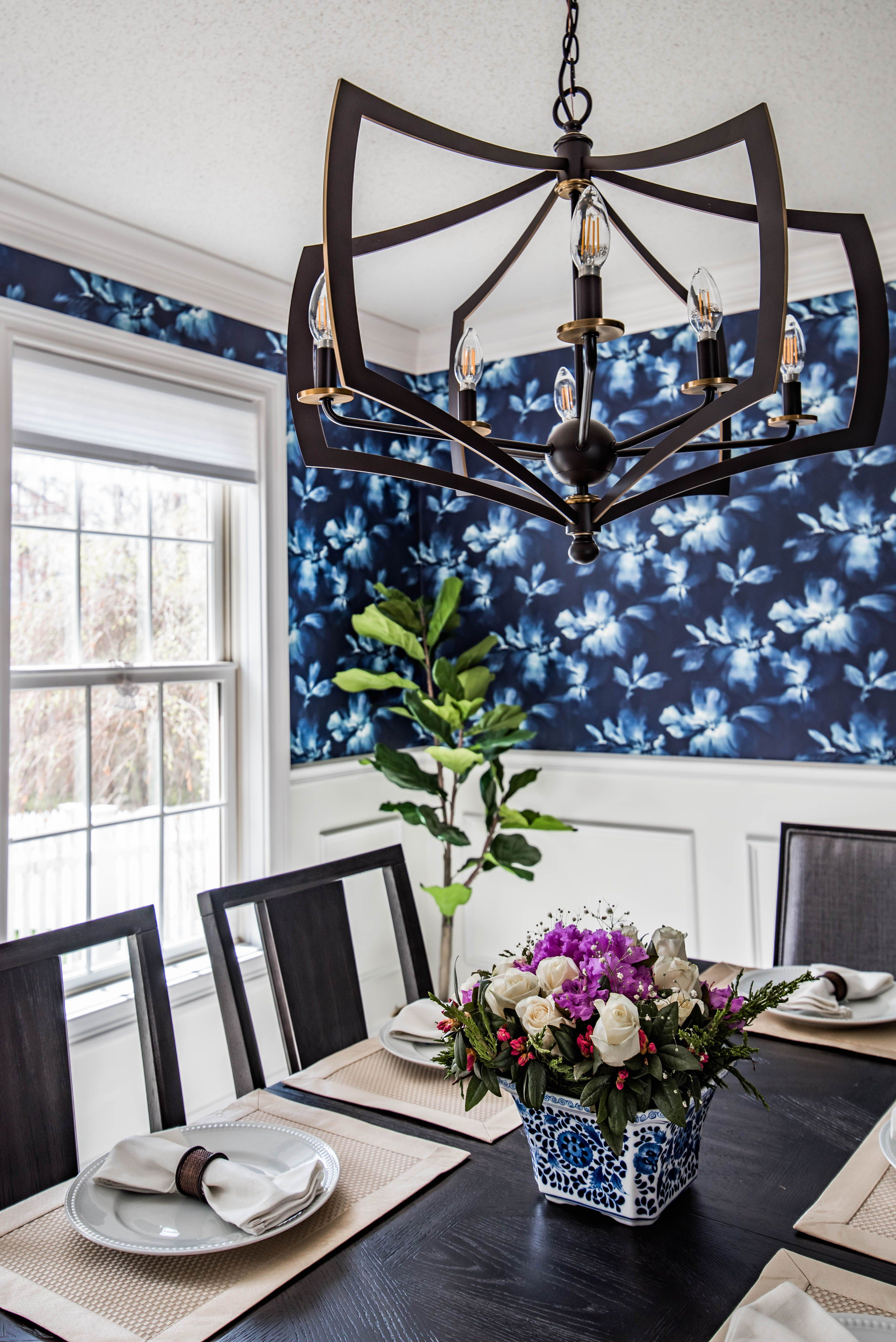 Brilliant Navy And White Dining Room With Wallpaper Above Chair Rail Pabps2019 Chair Design Images Pabps2019Com