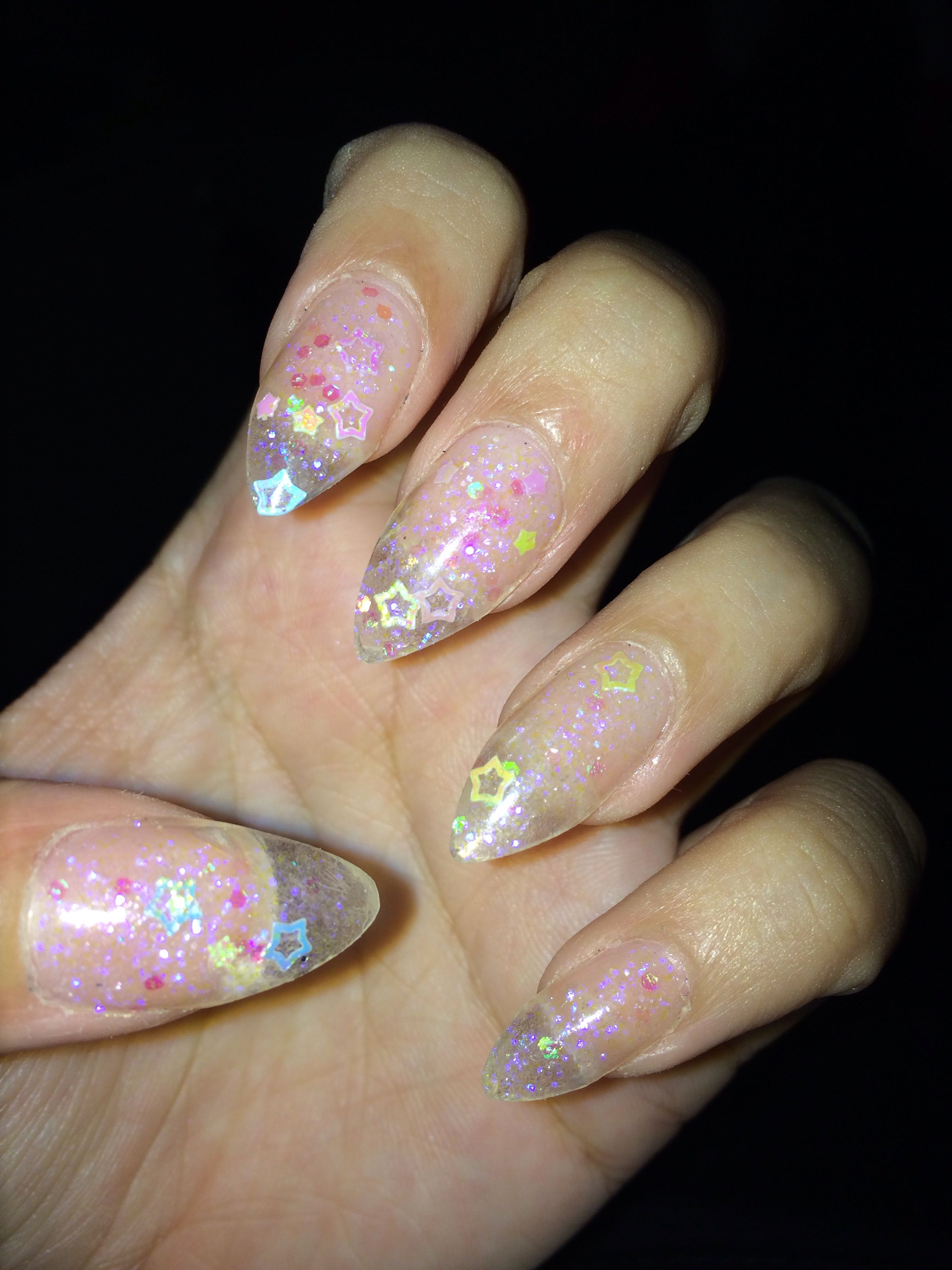 Glitter clear tip nails new photo
