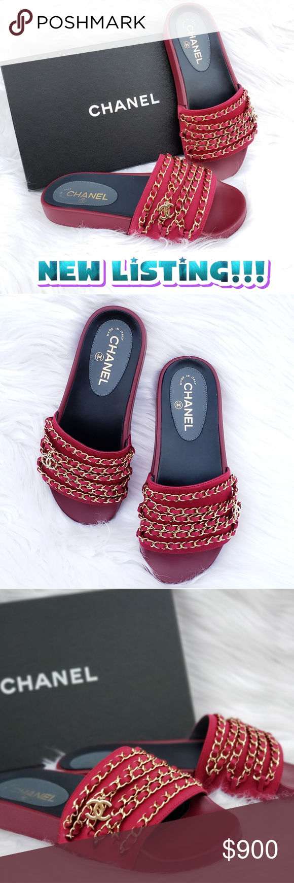 119853a91721 CHANEL CUBA TROPICONIC RED CHAIN SLIDE MULES 100% AUTHENTIC AND BRAND NEW  CHANEL CUBA TROPICONIC
