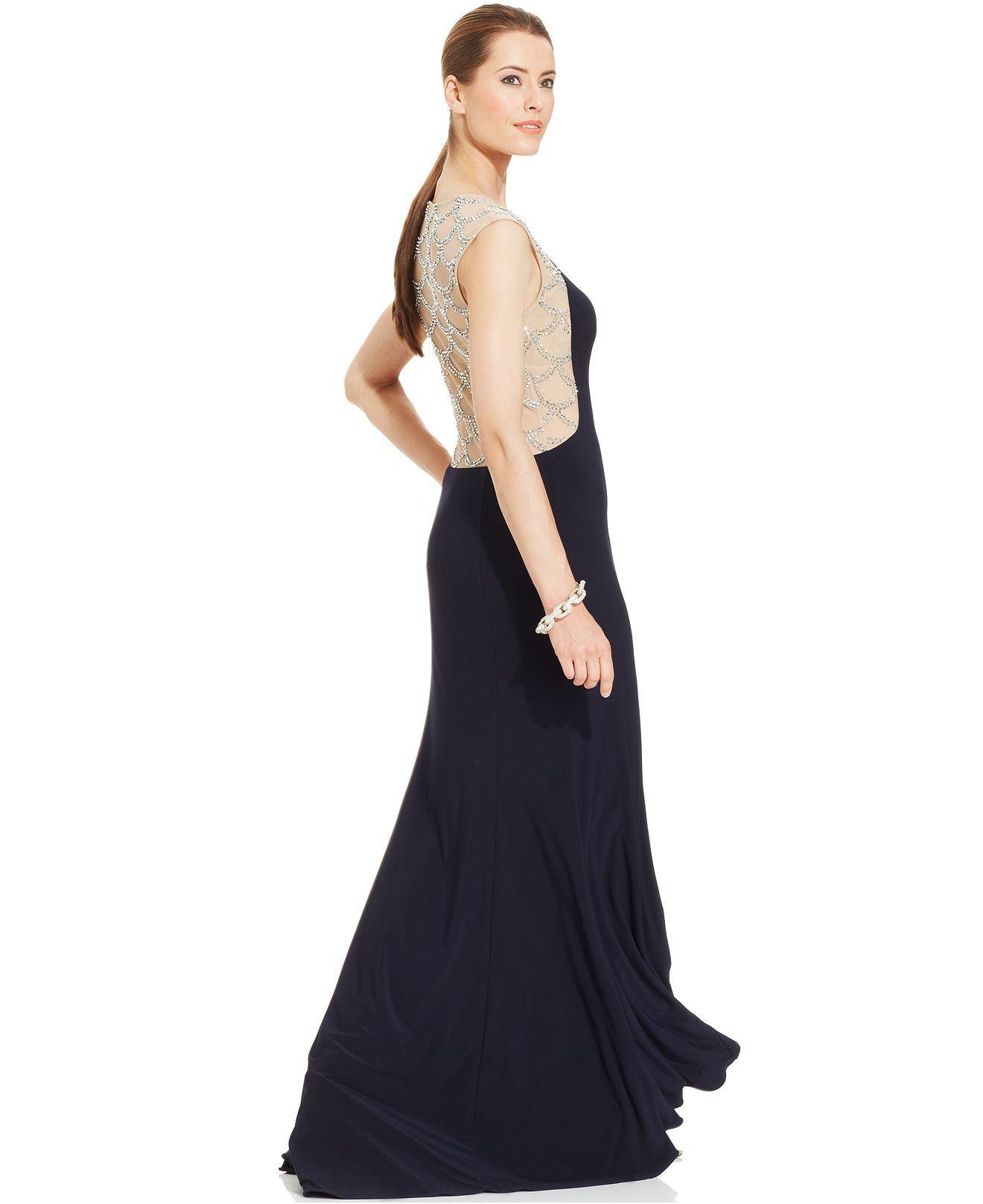 Xscape Cap-Sleeve Scalloped Jewel-Back Gown - Dresses - Women ...