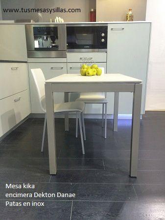 mesa extensible 110x70 encimera dekton danae, para cocina o ...