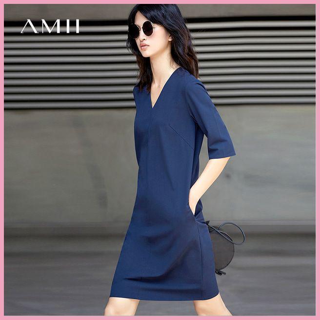 430bac71813c1fd Amii Повседневное женское платье 2018 летние простые прямые v-образным  вырезом Половина рукава по колено платья