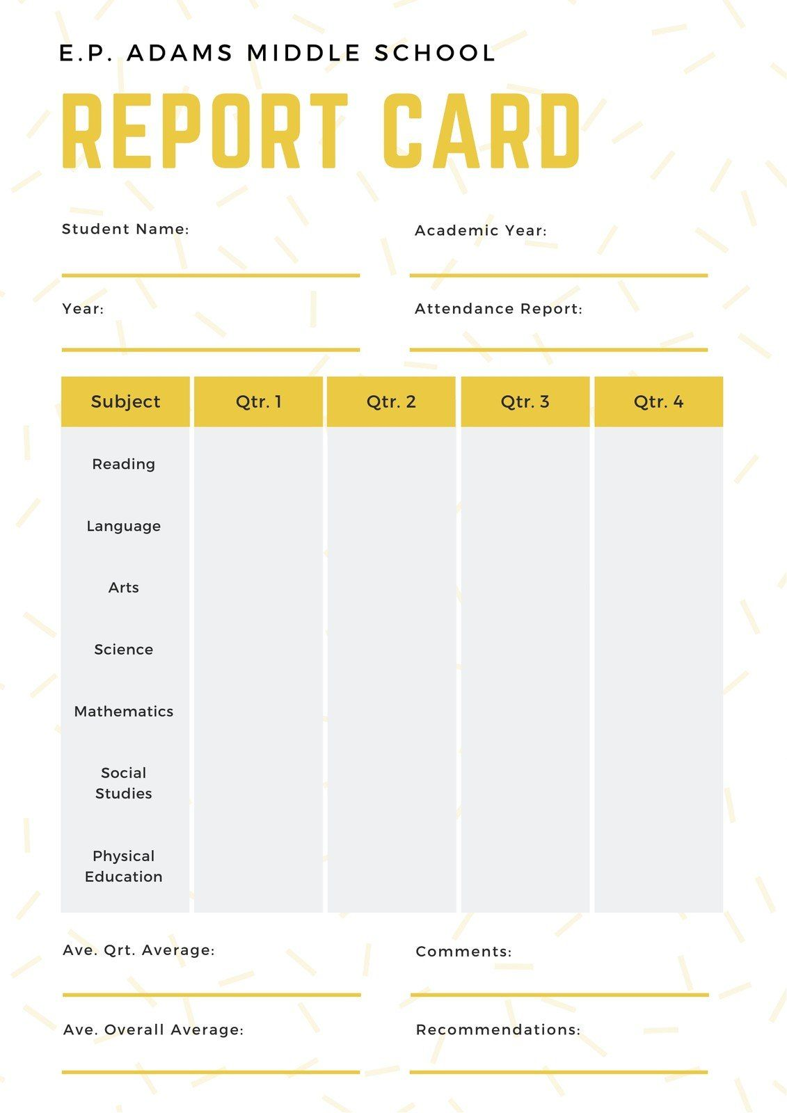 White And Yellow Simple Sprinkled Middle School Report