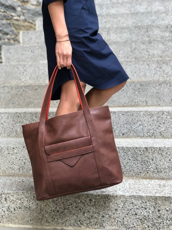 f424645627a9 laptop tote, shoulder bag, computer bag, girlfriend gift, vegan leather bag,  brown leather tote, lea