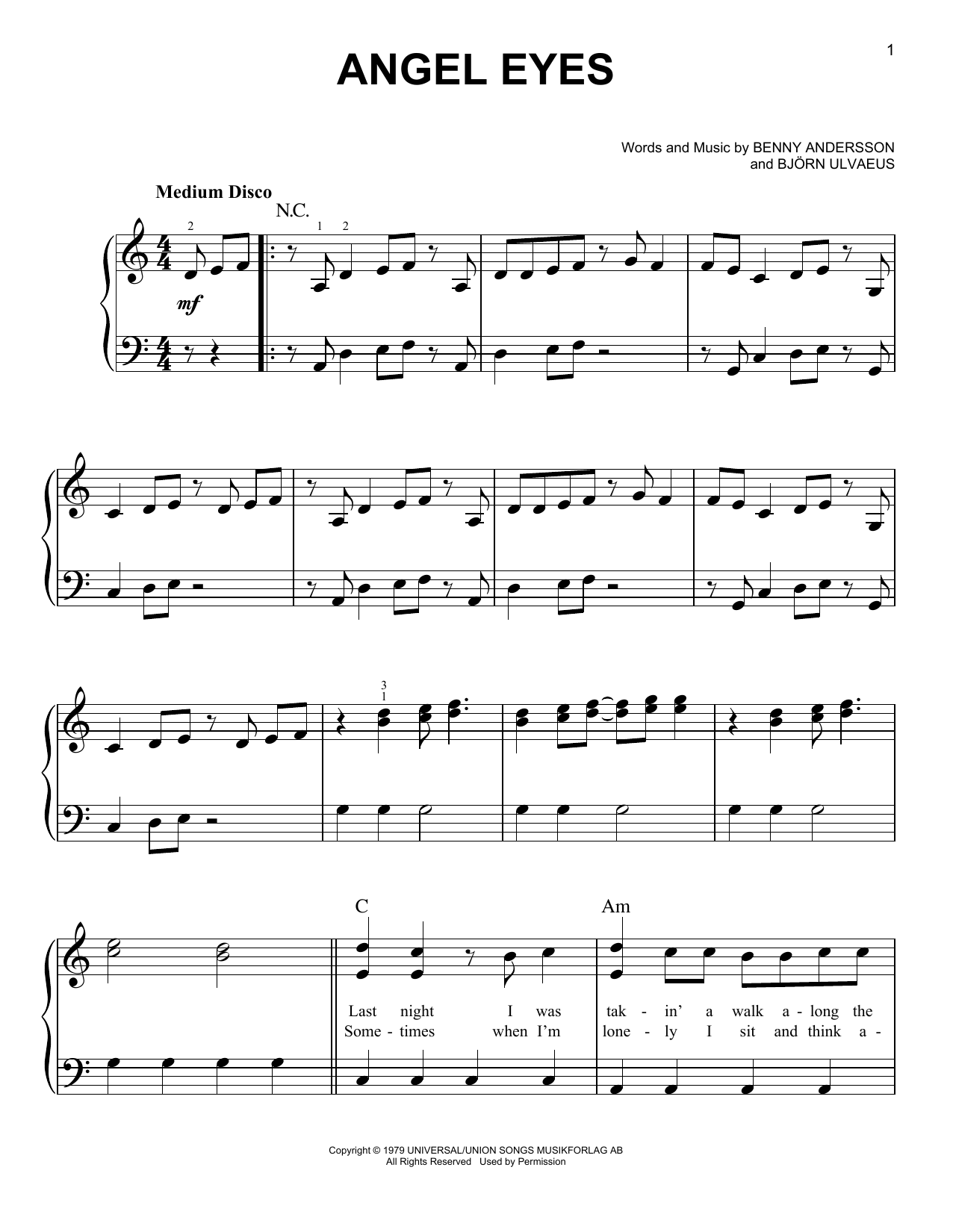 Mamma Mia Angel Eyes Sheet Music, Piano Notes, Chords