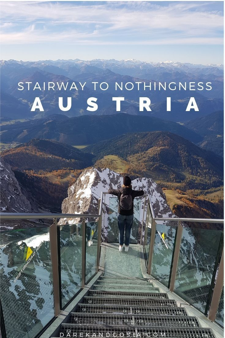 Stairway to Nothingness in Austria. Thrills with a view are guaranteed on the Dachstein suspension bridge, which including the stairway to nothingness offers breathtaking views across the mountains and down the rockface. Austria's highest suspension bridge is directly linked to the Dachstein Ice Palace. The suspension bridge amazes with a view over Austria's highest peaks and an unrestricted line of sight 400 metres downwards over the rugged rocks of the Dachstein Massif.