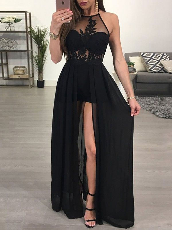 ff5189afbbf Sheer Mesh Lace Applique Maxi Romper Dress