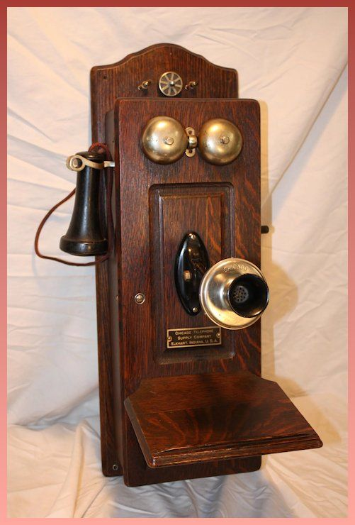 Chicago Telephone Supply Co. Oak Wall Phone 1902 Excellent #wallphone