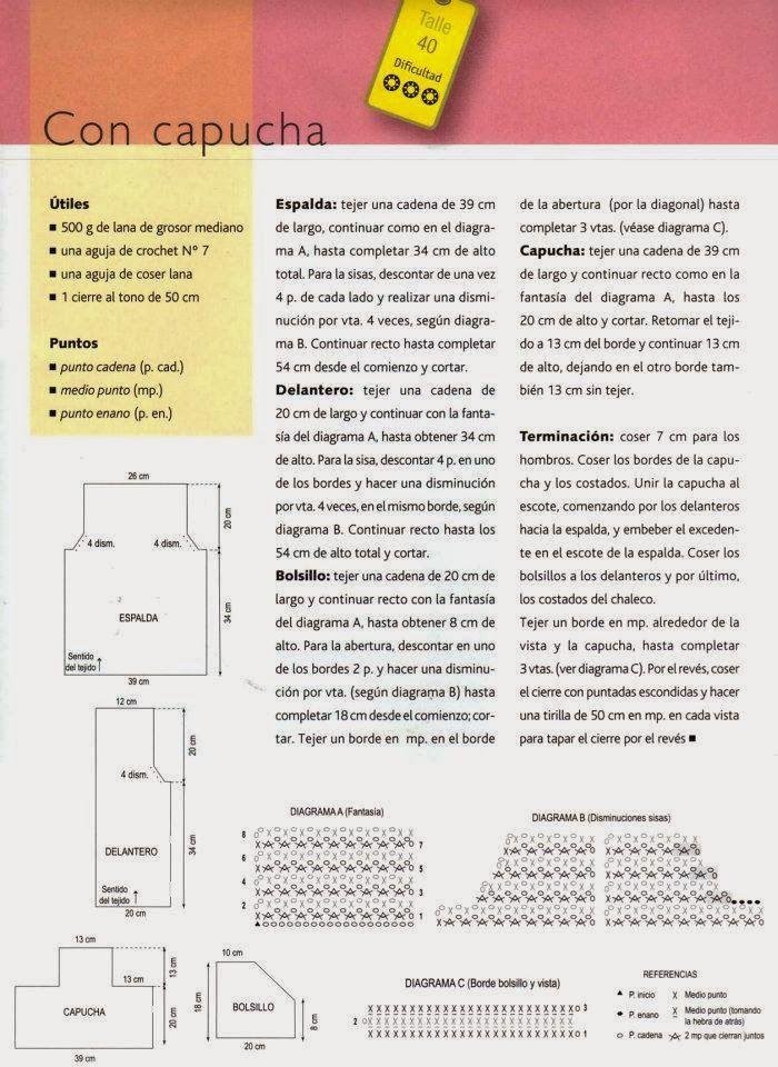 Chaleco con Capucha de Crochet Patron - Patrones Crochet | Chalecos ...
