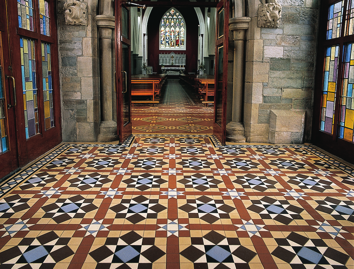 Victorian floor tiles chatsworth pattern in blue brown buff victorian floor tiles chatsworth pattern in blue brown buff white and black doublecrazyfo Gallery
