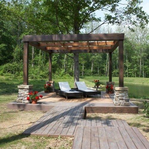Gartengestaltung Ideen Relax Zone im Freien Holz Gartenmöbel