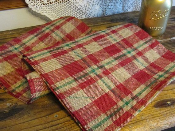 cranberry red green plaid table runner by throwntogether on etsy - Christmas Plaid Table Runner