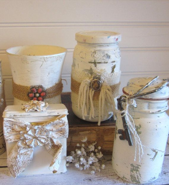 Decorative Jars Extremely Rustic 4 Various White Painted Glass And Metal