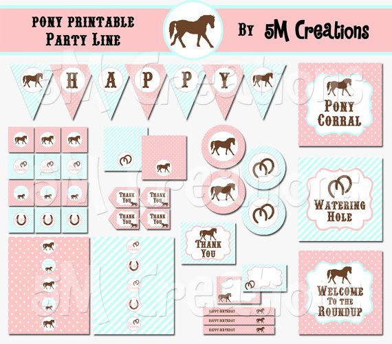 photograph relating to Printable Party known as PONY Birthday Celebration Printable Decorations Package deal - Horse
