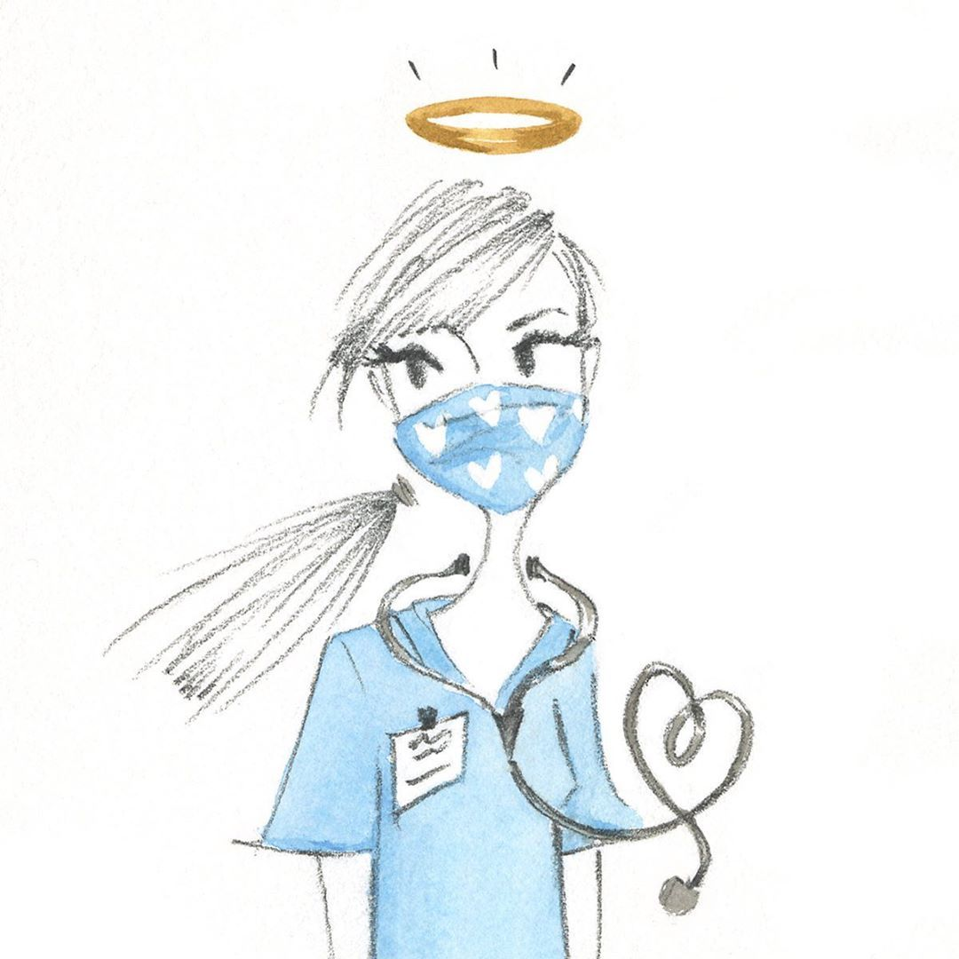 Health care worker drawing
