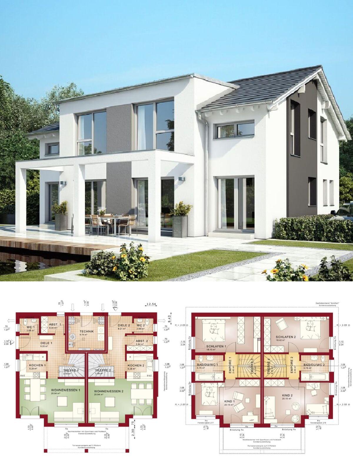 stadtvilla als doppelhaus architektur modern mit satteldach pergola haus bauen grundriss. Black Bedroom Furniture Sets. Home Design Ideas