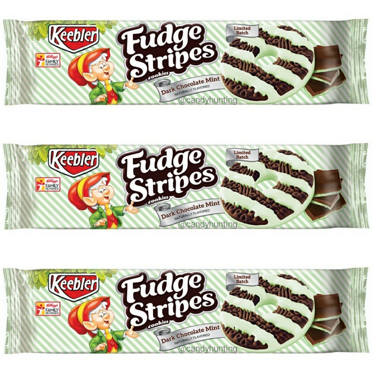Keebler Fudge Stripes Dark Chocolate Mint Cookies