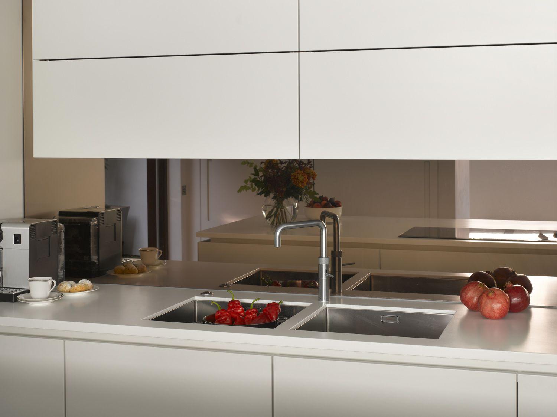 Roundhouse Bronze Mirror Splash Back Is Perfectly Balanced With All White Matt Lacquer Cabinets Glass Splashbacks Kitchen Bronze Kitchen Kitchen Mirror