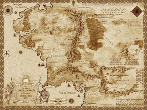Map of Middle Earth The Lord of The Rings 32x24 Map Poster | eBay