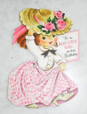 C1950s Hallmark Hall Brothers Card Little Girl Pink Dress High Heels Birthday