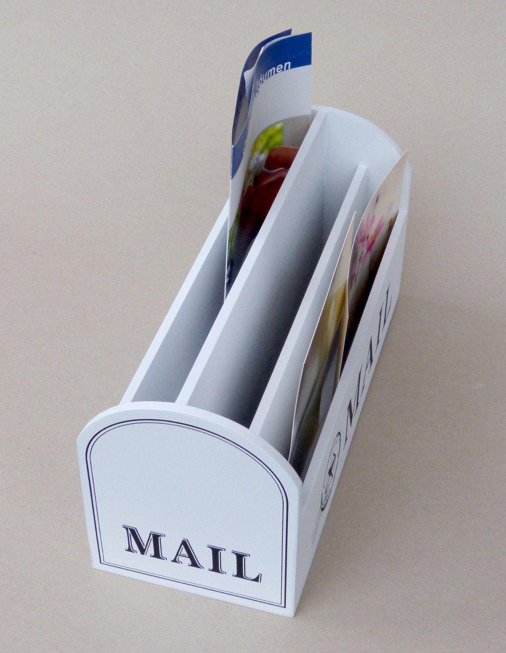 briefablage organizer postbox mit 3 f chern im mailbox stil aus holz wei k che. Black Bedroom Furniture Sets. Home Design Ideas