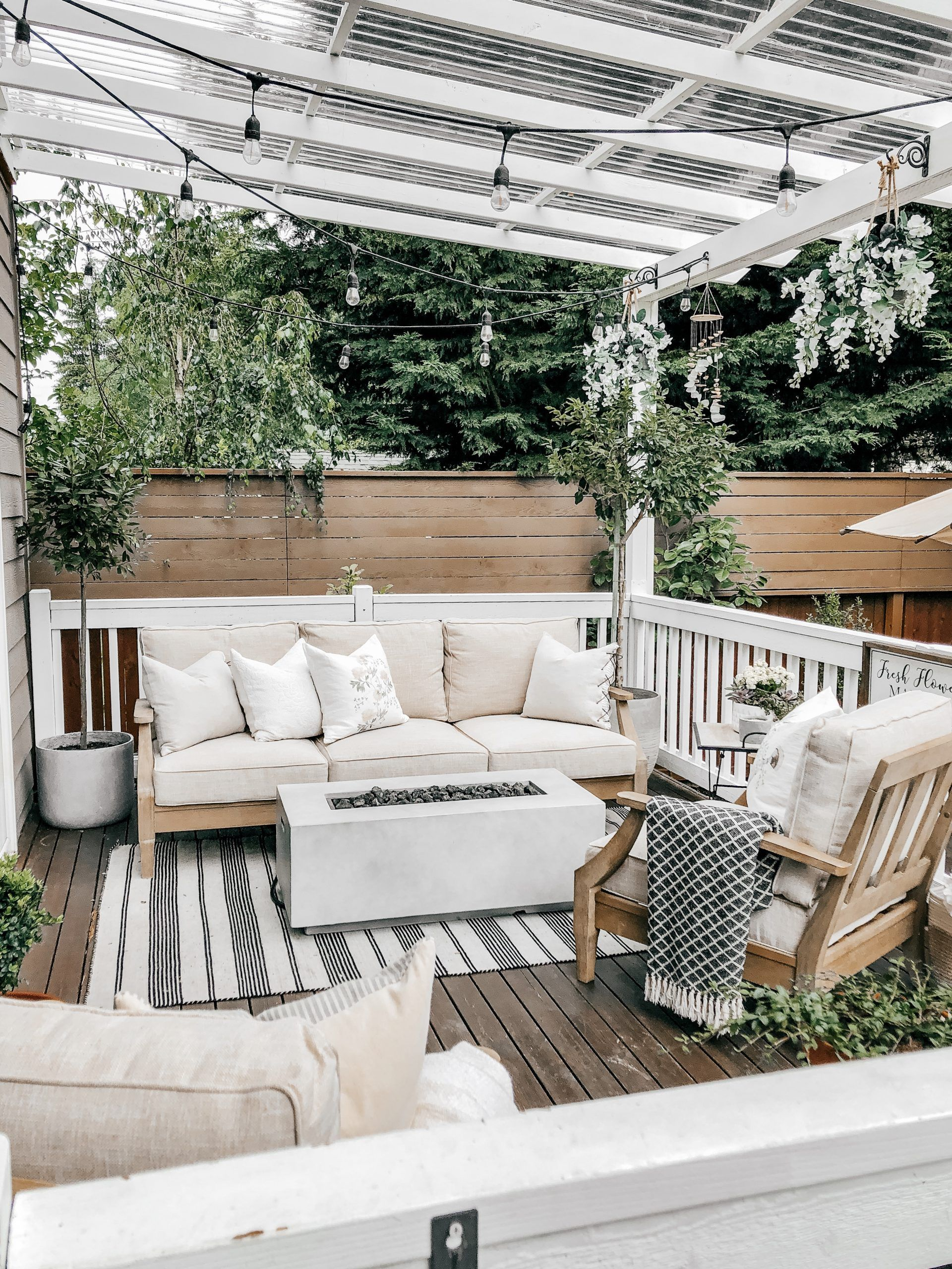 Creating A Cozy Cottage Style Backyard Oasis Designed For Entertaining With A Clear Covered Pergola In 2020 Backyard Oasis Concrete Patio Neutral Outdoor Furniture