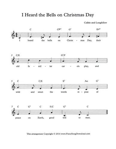 I Heard the Bells on Christmas Day Lead Sheet   Lead sheet, Piano sheet music beginners, Hand ...