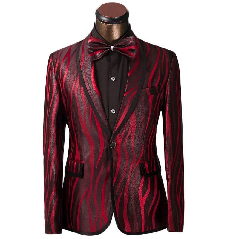 FG1509 Luxury Men Suit Unique Red Zebra Pattern One Button Suit ...
