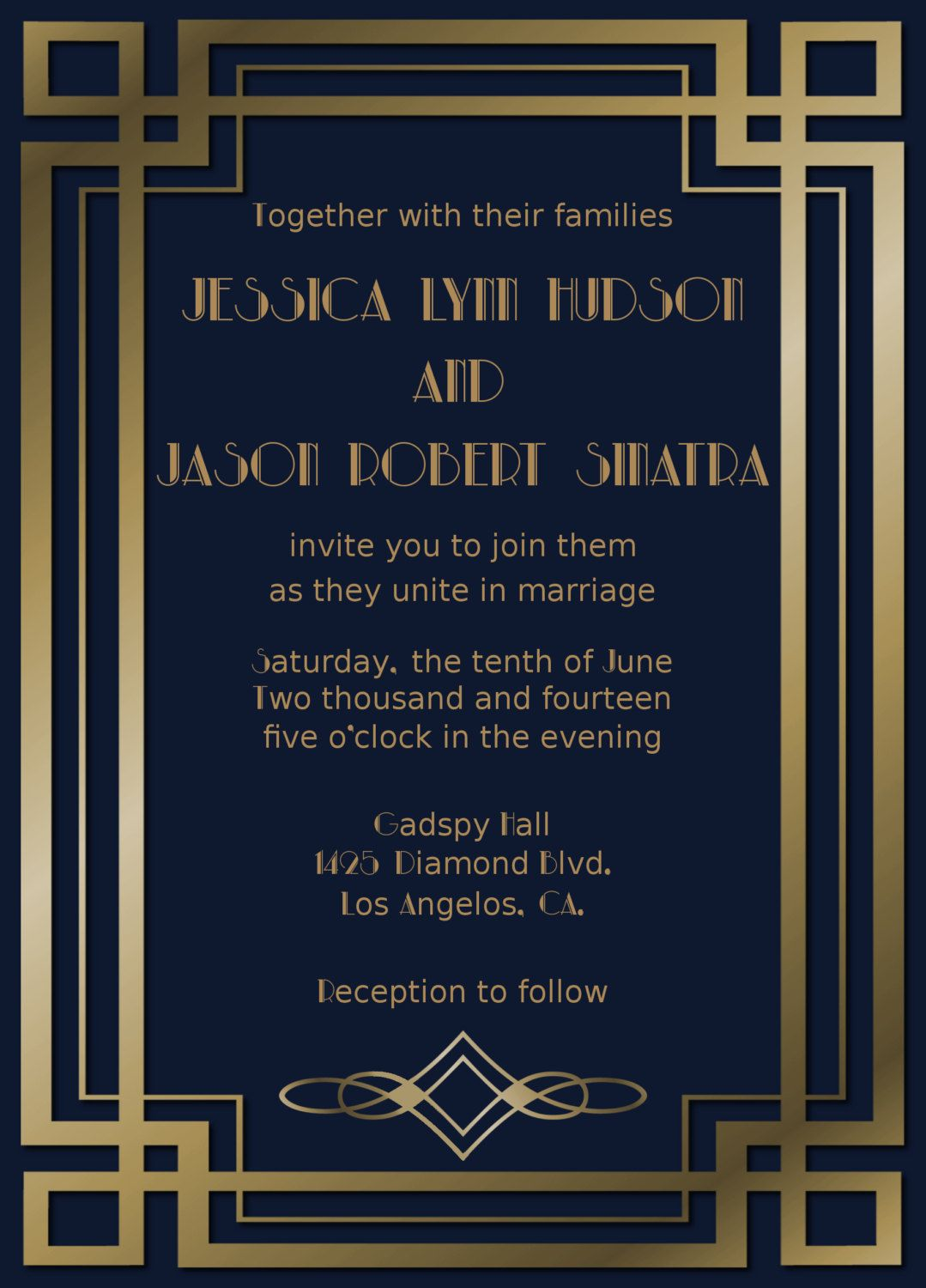 Great Gatsby Wedding Invitation Suiteart By Goosecornergreetings