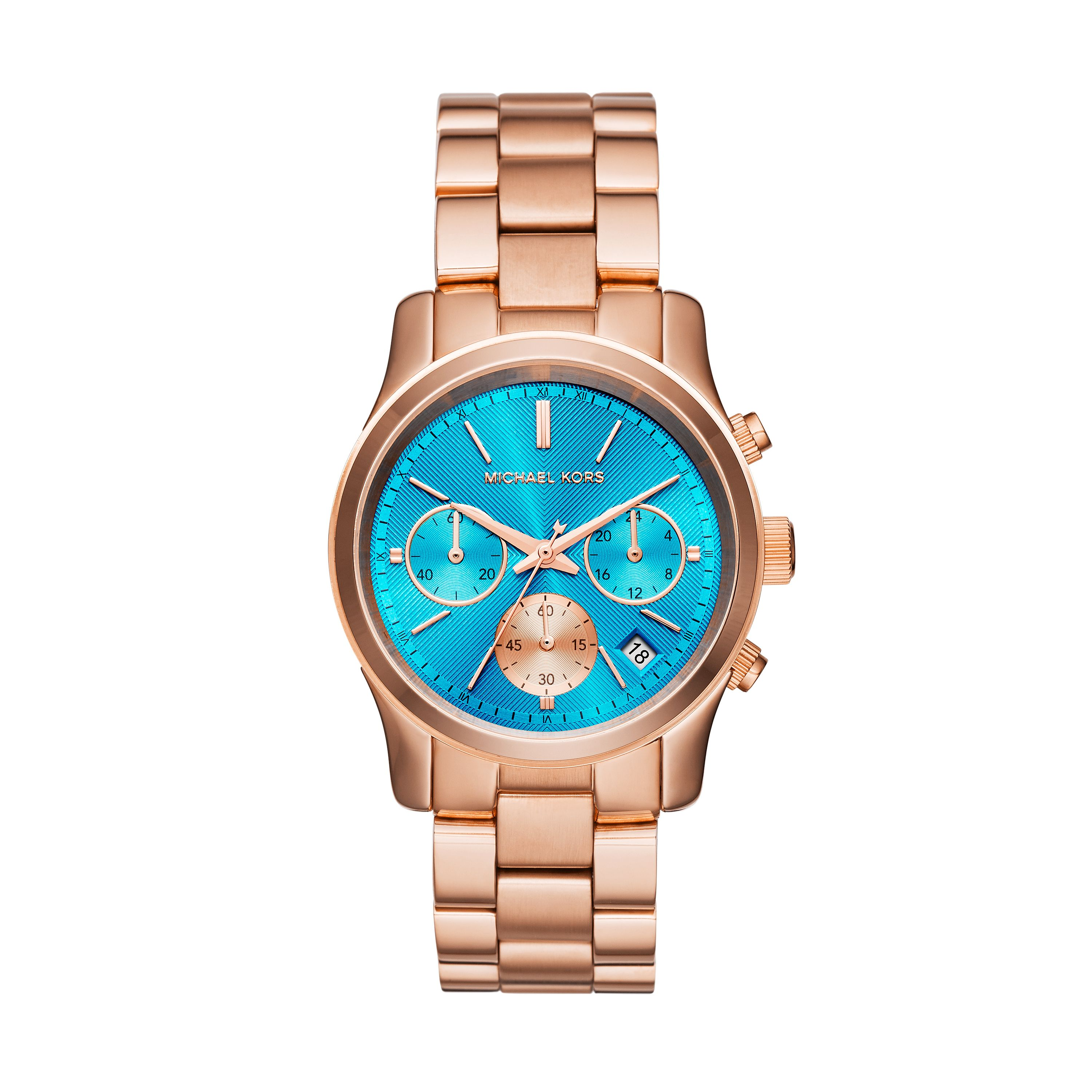 d692d0cfa69d Michael Kors Rose Tone Ladies Watch featuring a turquoise dial. MK6164