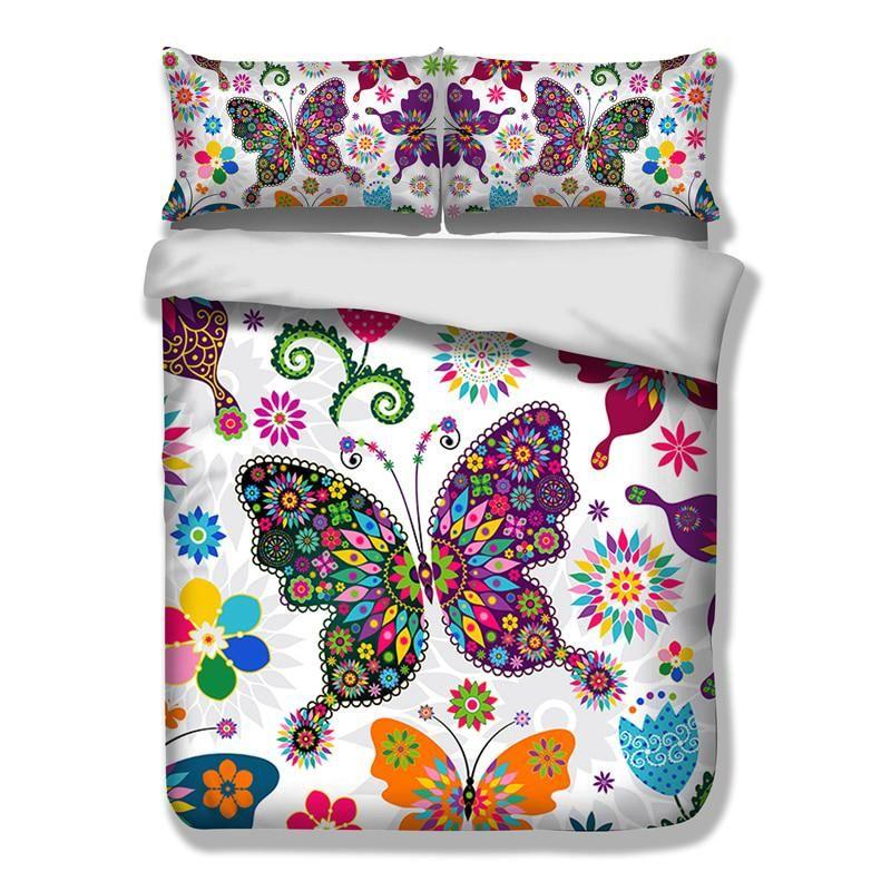3D Butterflies Bedding Set Twin Full Queen King Size Duvet