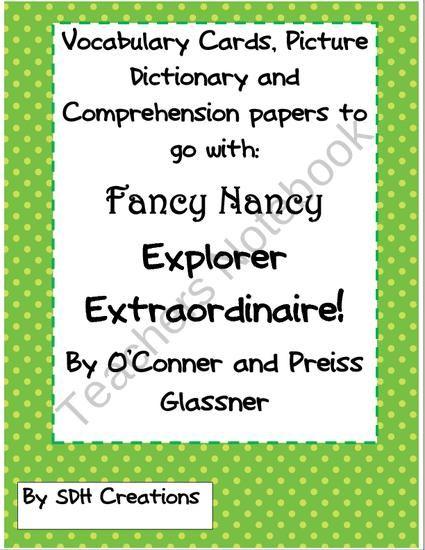Fancy Nancy Explorer Extraordinaire Comprehension Vocabulary