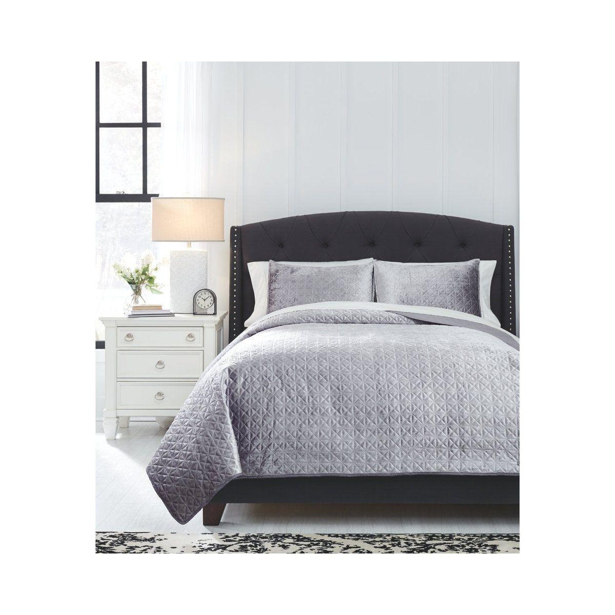 Ashley Furniture Cyrun Gray Queen Duvet Cover Set: Signature Design By Ashley Maryam Gray Queen Coverlet Set