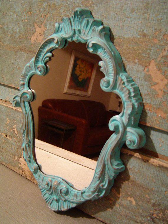Vintage Ornate Turquoise Mirror $22