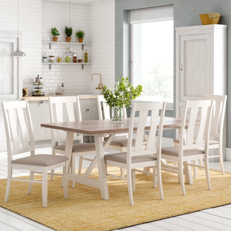 Strange 6 Seater Dining Set Brown Top Rectangular Table White Padded Pabps2019 Chair Design Images Pabps2019Com