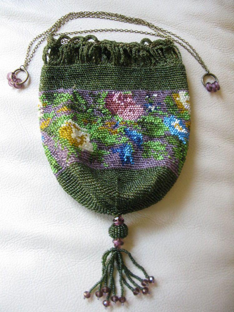 Antique Tan Crochet Olive Green Purple Floral Czech Bead Chain Drawstring  Purse #Drawstring