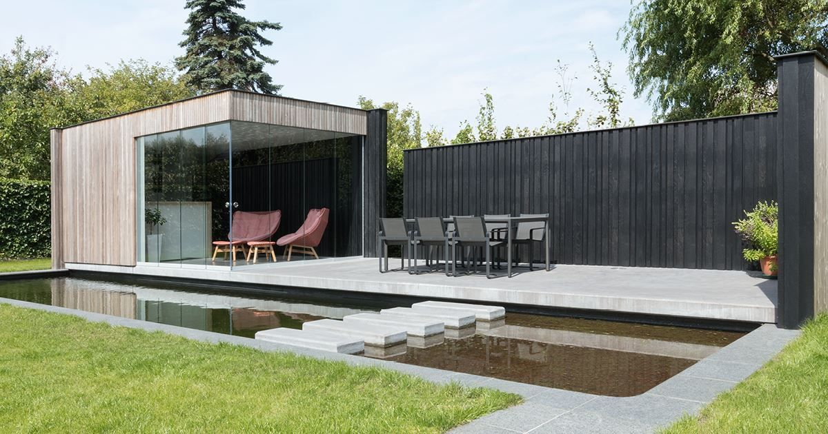 Livinlodge carpentier black oak tuinhuis overdekt zitten pool